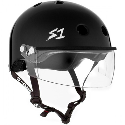 Casco con visor en negro S-One Lifer Visor Black Gloss